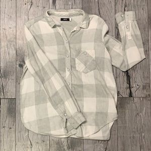 BDG Urban Outfitters White Plaid Soft Flannel